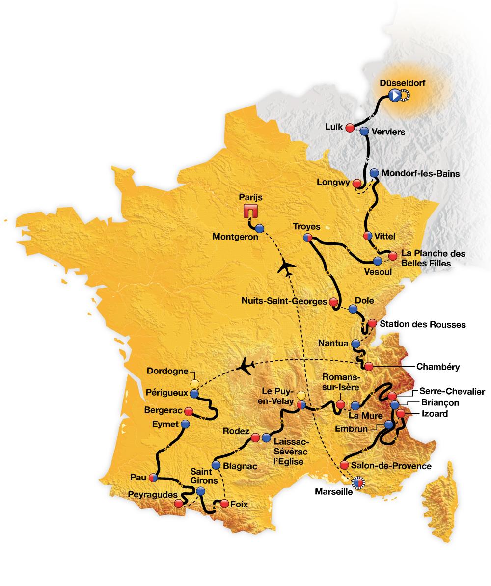 Routekaart Tour de France